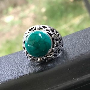 MENS SILVER TURQUOISE RING GREEN